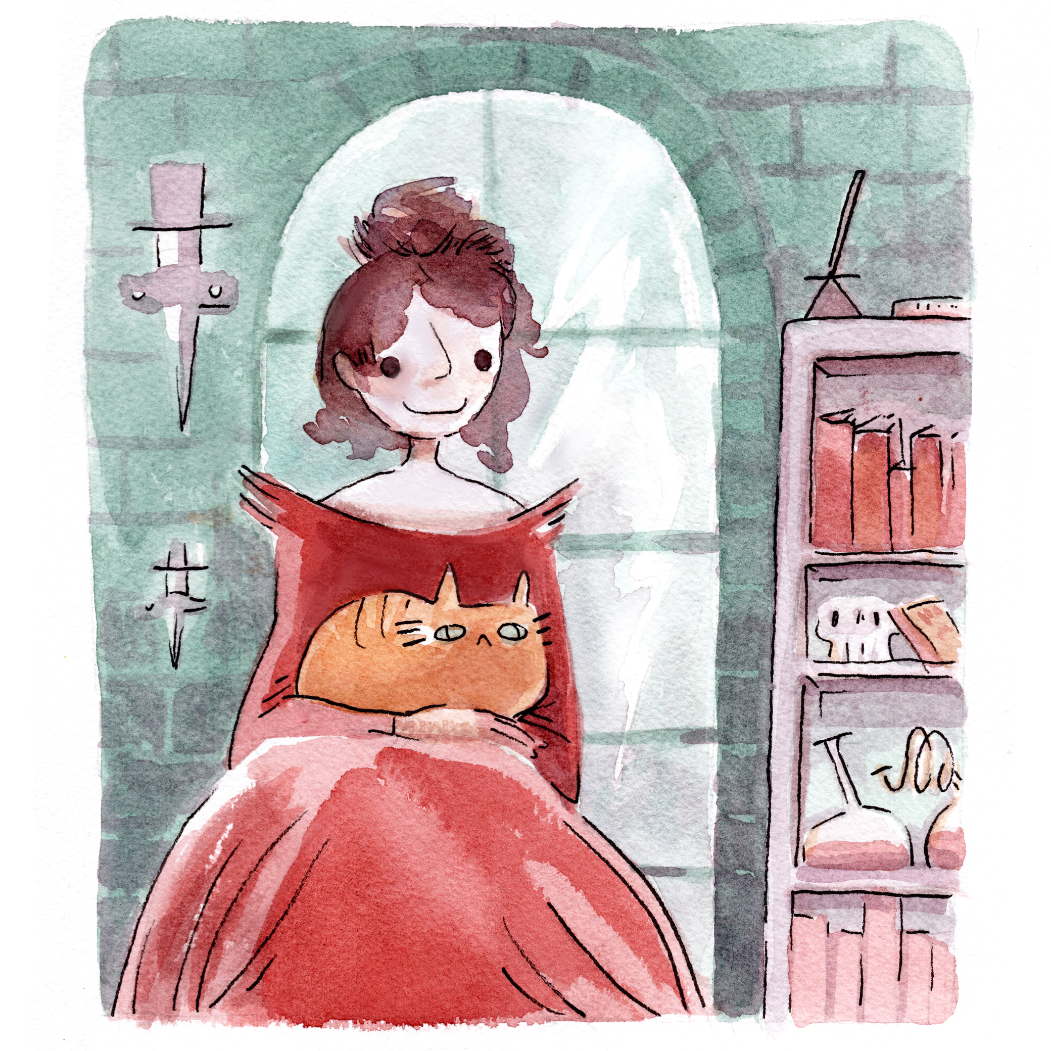 Watercolor of a woman in a spooky castle, wearing a striking red dress as she holds an orange cat.