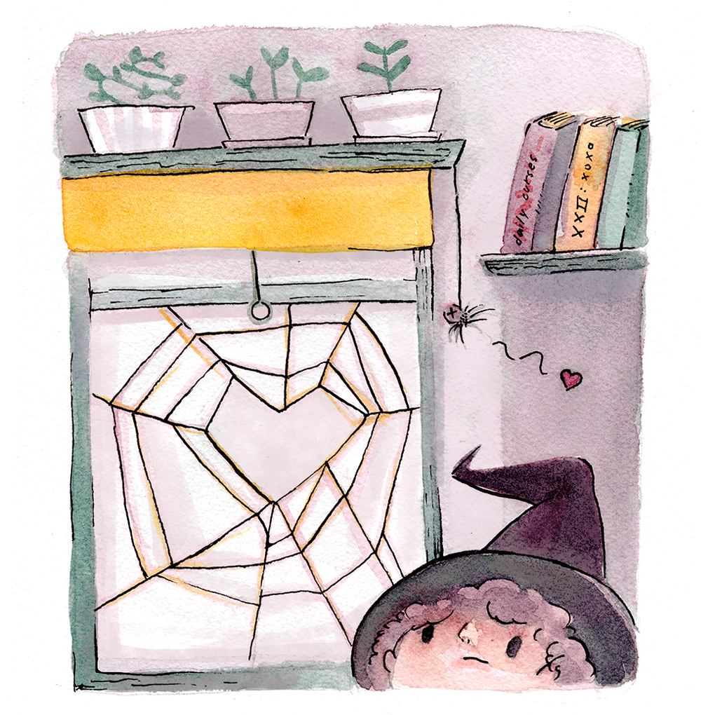 Watercolor witch by her window among plants and books, with a heart in the spiderweb by the window.