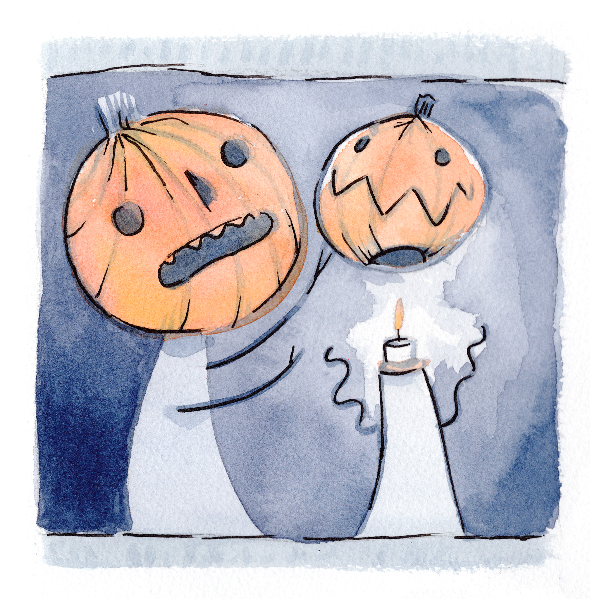 Watercolor pumpkin characters, one revealing the other has only a candle under his jack-o-lantern head.