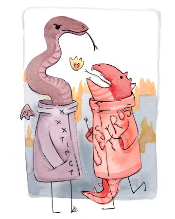 Two hip watercolor dino monsters hanging out in front of a burning city.