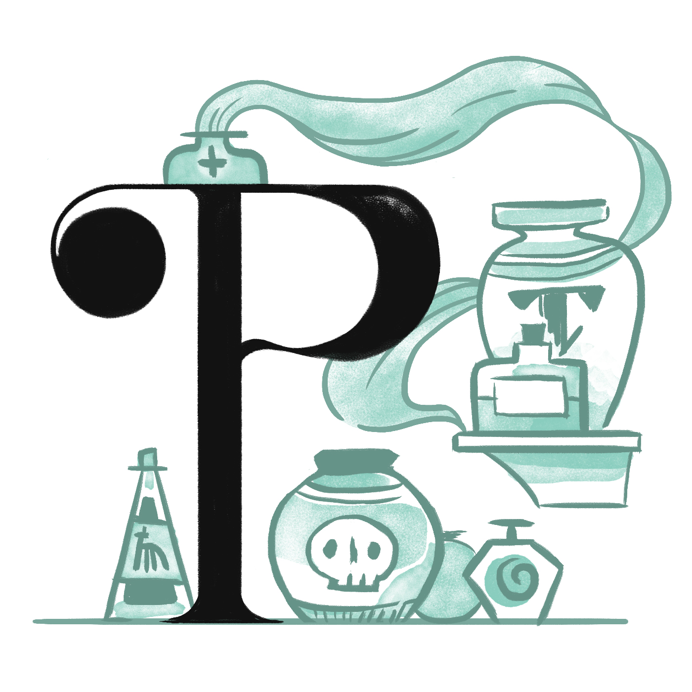 The letter P (dropcap) illustrated for a potions typography highlight.
