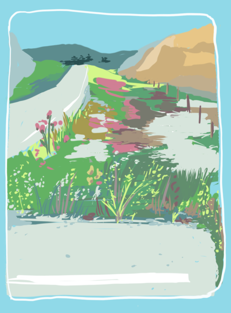 Pull-off view with wildflowers, plein air digital color study of the Badlands.