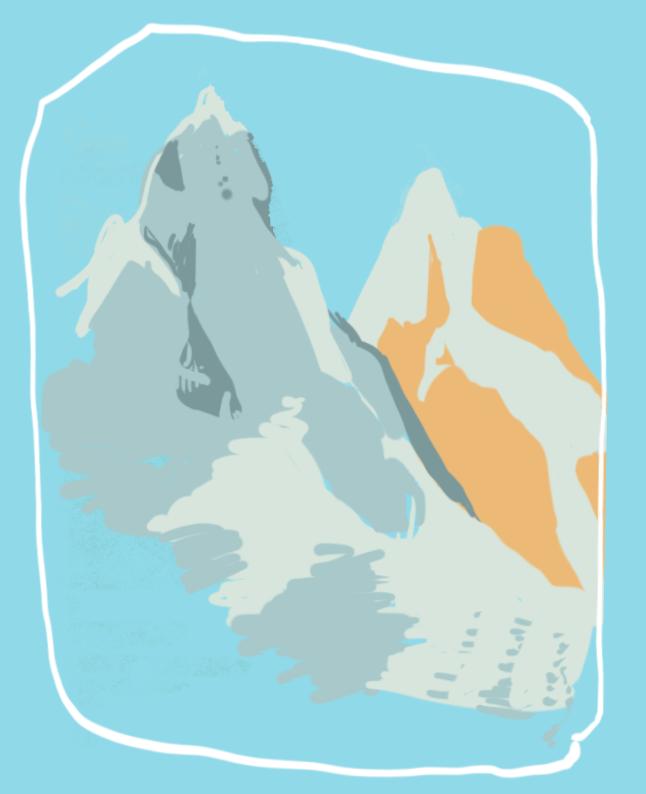Two peaks, plein air digital color study of the Badlands.