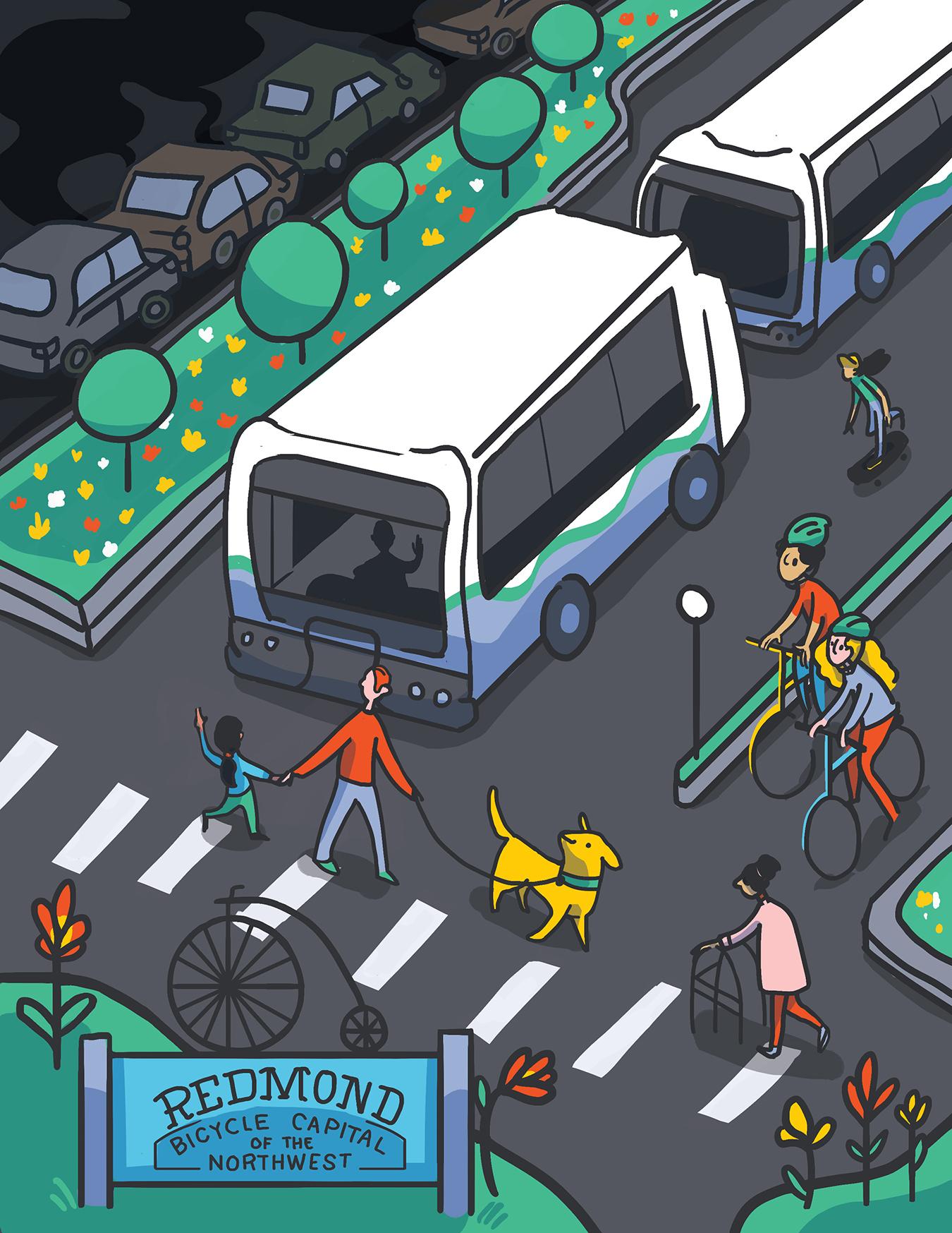 Illustration of public transit futures in Redmond, WA. People riding bikes, using crosswalks, and public transit.