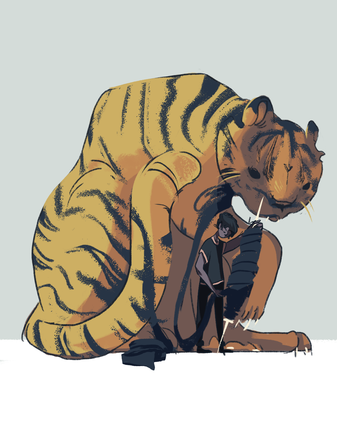 Digitally rendered illustration of an artist winding the strips off a tiger to spool them.