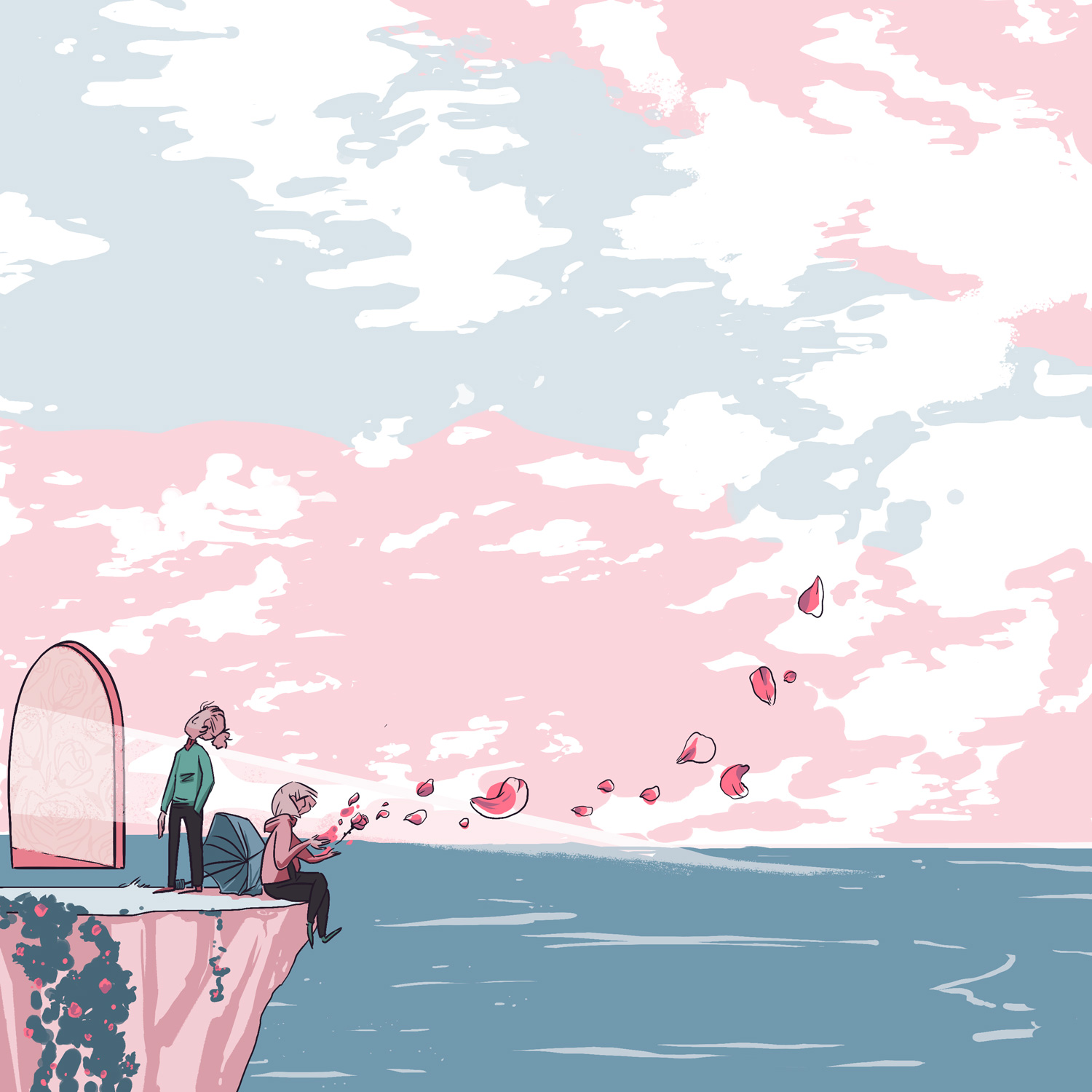 Digitally rendered illustration of two figures on an ocean overlook and a mysterious door, with a wide overhead sky in pink and pale blue.