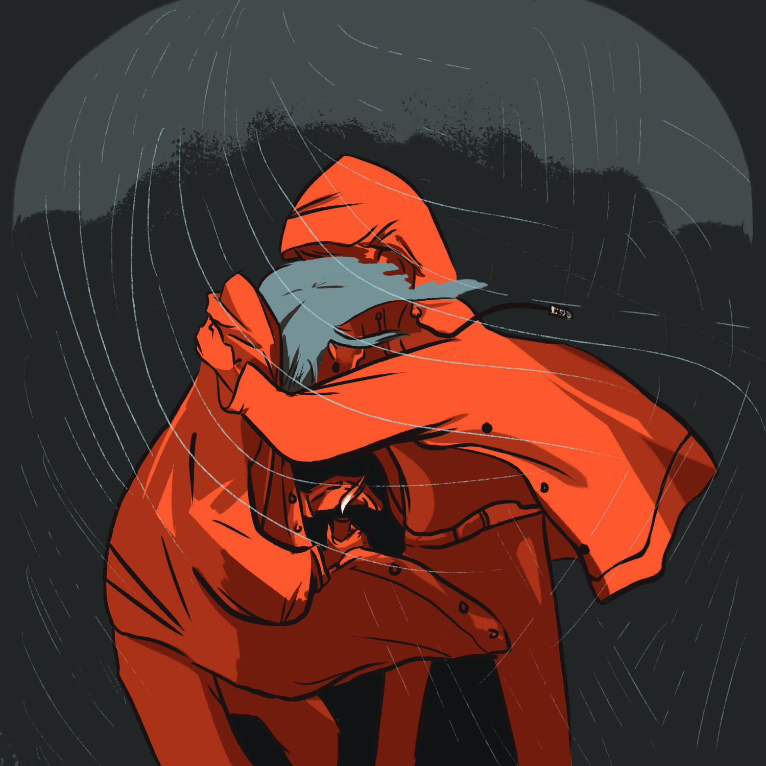 Digital illustration of two figures holding each other in a storm. One holds a candle.