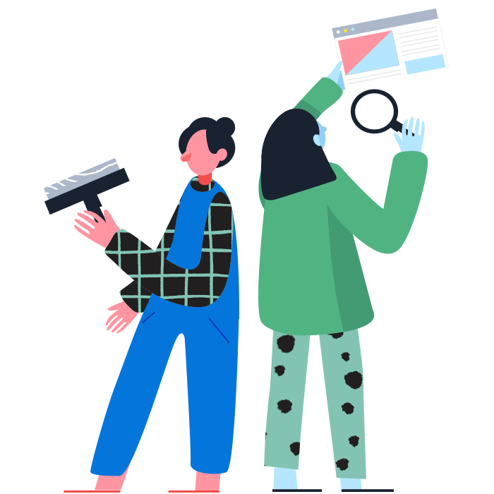 Illustrated Library: Two figures, one with a squeegee in overalls and the other holding a magnifying glass up to a website browser.