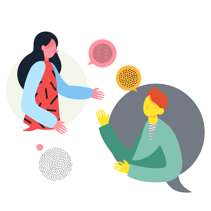 Two illustrated figures each within their own speech bubble, interacting with each other.