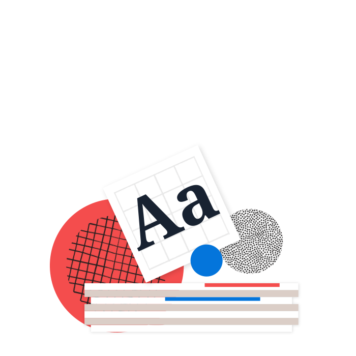 Illustrated library: Stack of branded elements