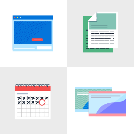 Illustrated library elements in a grid: Website homepage, calendar, slideshow, PDF