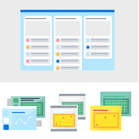 Illustrated library elements in a grid: Project management software, graphs