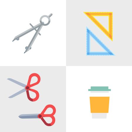 Illustrated library elements in a grid: Safety compass, measuring triangle, scissors, coffee cup