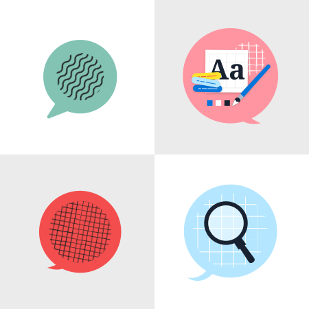 Illustrated library elements in a grid: Speech Bubbles