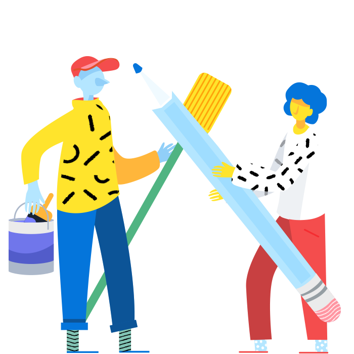 Two figures illustrated: Left figure holding broom and paint bucket, right figure holding oversized pencil.