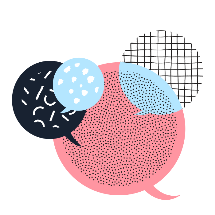 Black, light blue, white, and pink speech bubbles.