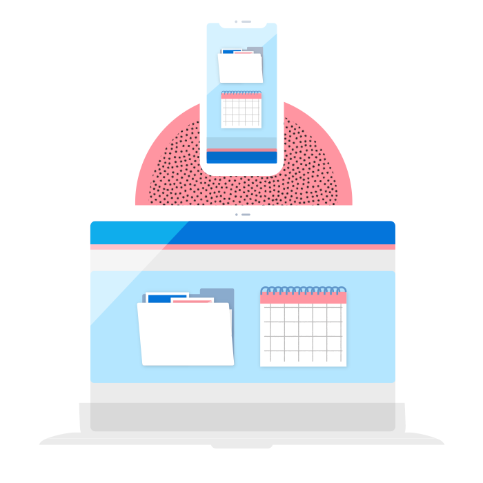Illustration of project scheduling and file management software on laptop and phone interfaces.