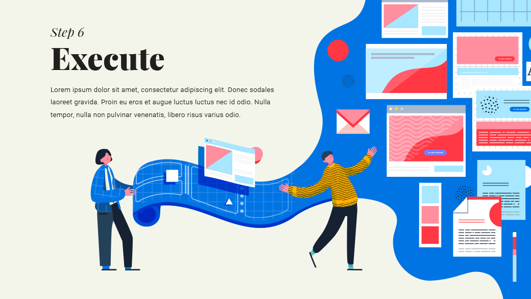 Execution slide, with one figure in a blazer rolling out a blueprint which contains branding project collateral such as email, palette, typography, etc.