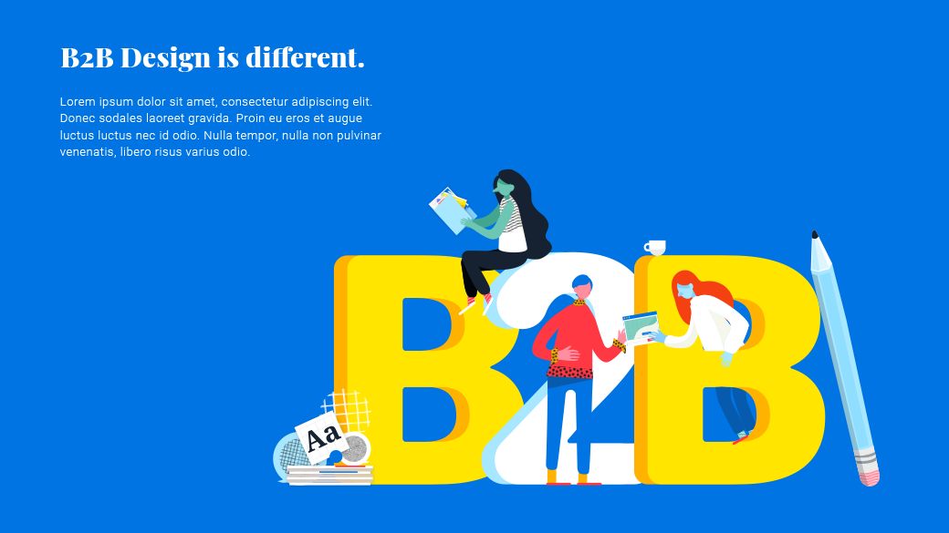 """B2B illustration slide, featuring characters interacting around big, bubbly """"B2B"""" type."""