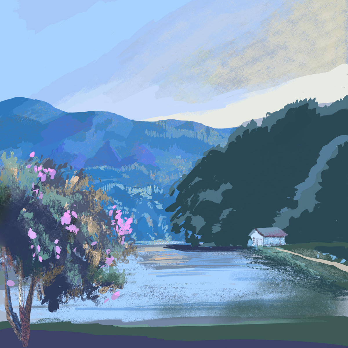 Morning plein air digital painting of Lake Lure, North Carolina.