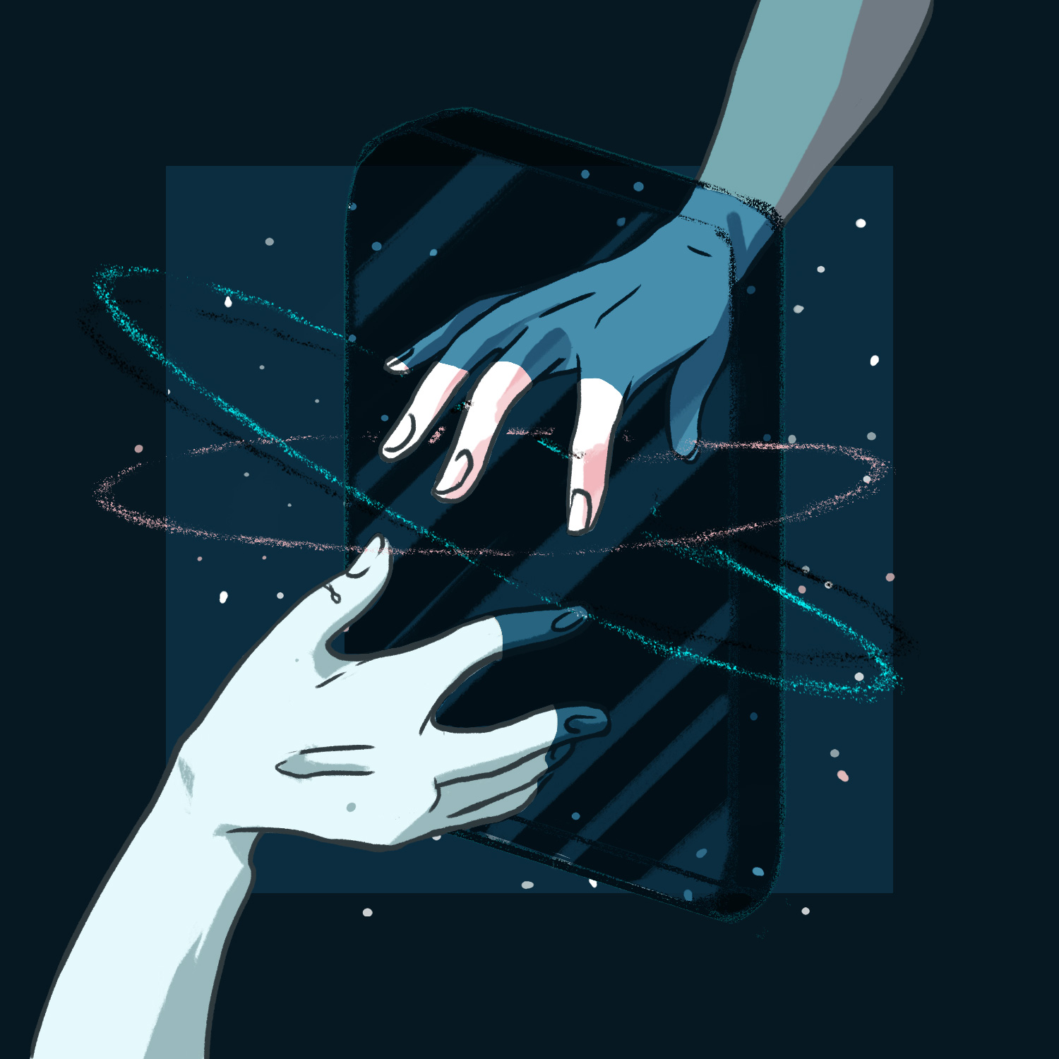 Digitally rendered illustration of two hands reaching through a mirror screen, cosmic elements and rings surrounding.