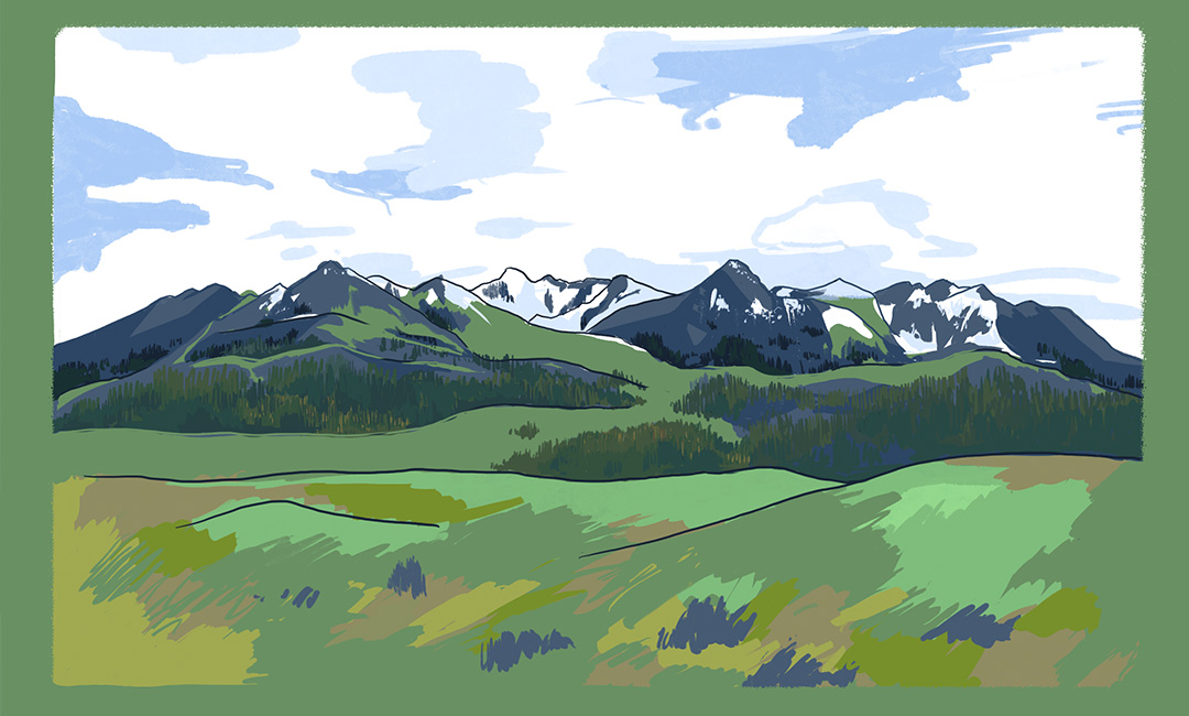 Full view of mid-afternoon plein air digital painting of the mountains surrounding Livingston, Montana. Includes grassland foreground.