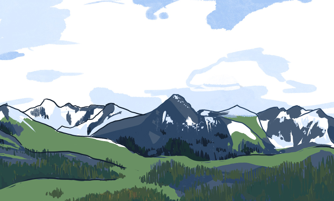 Mid-Afternoon plein air digital painting of the mountains surrounding Livingston, Montana.