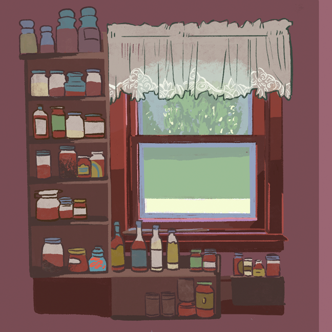 Digital sketchbook page with a full render of spice racks beside a window with a lace curtain.