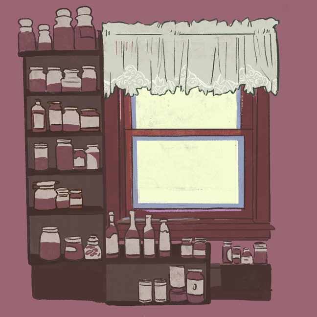 Digital sketchbook page with a color block render of spice racks beside a window with a lace curtain.