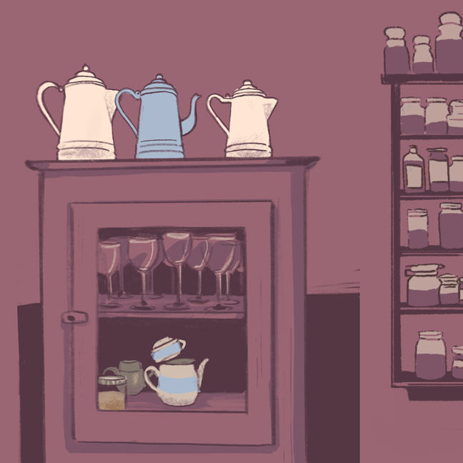 Digital sketchbook page with a full render of a cabinet with wine glasses inside and teapots on top.