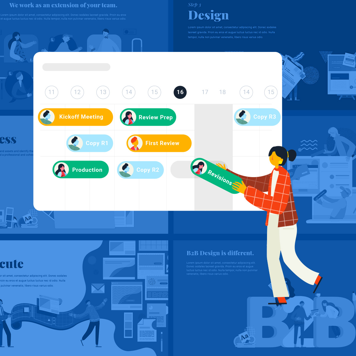 B2B flat graphic illustration of a woman interacting with project scheduling software.
