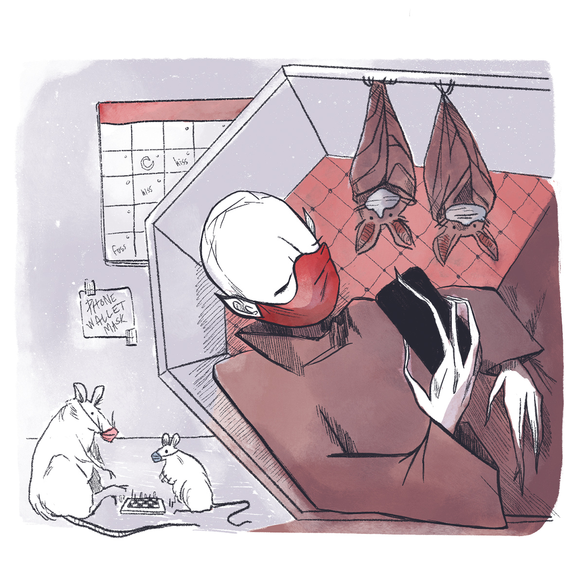 Nosferatu in quarantine, checking iphone as two masked bats and two masked bats keep him company.