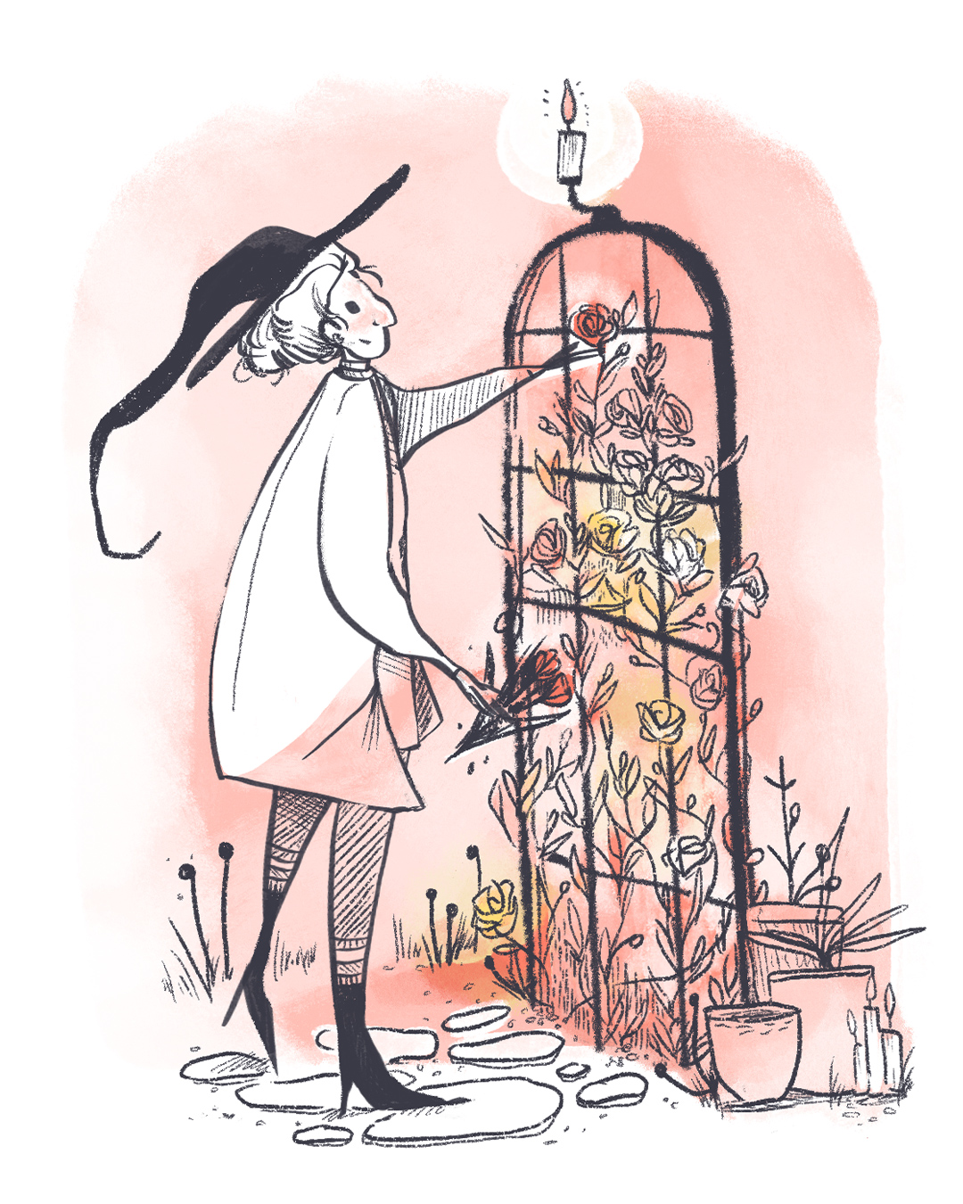 Pink and yellow digital painting of a garden witch picking roses from her gate.